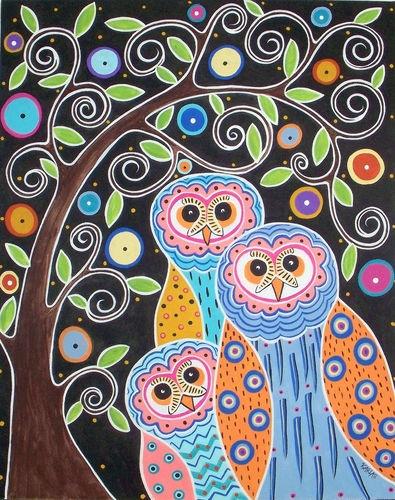 Rug Hook Paper Pattern Owls & Tree Folk Art Modern ABSTRACT Karla G | eBay