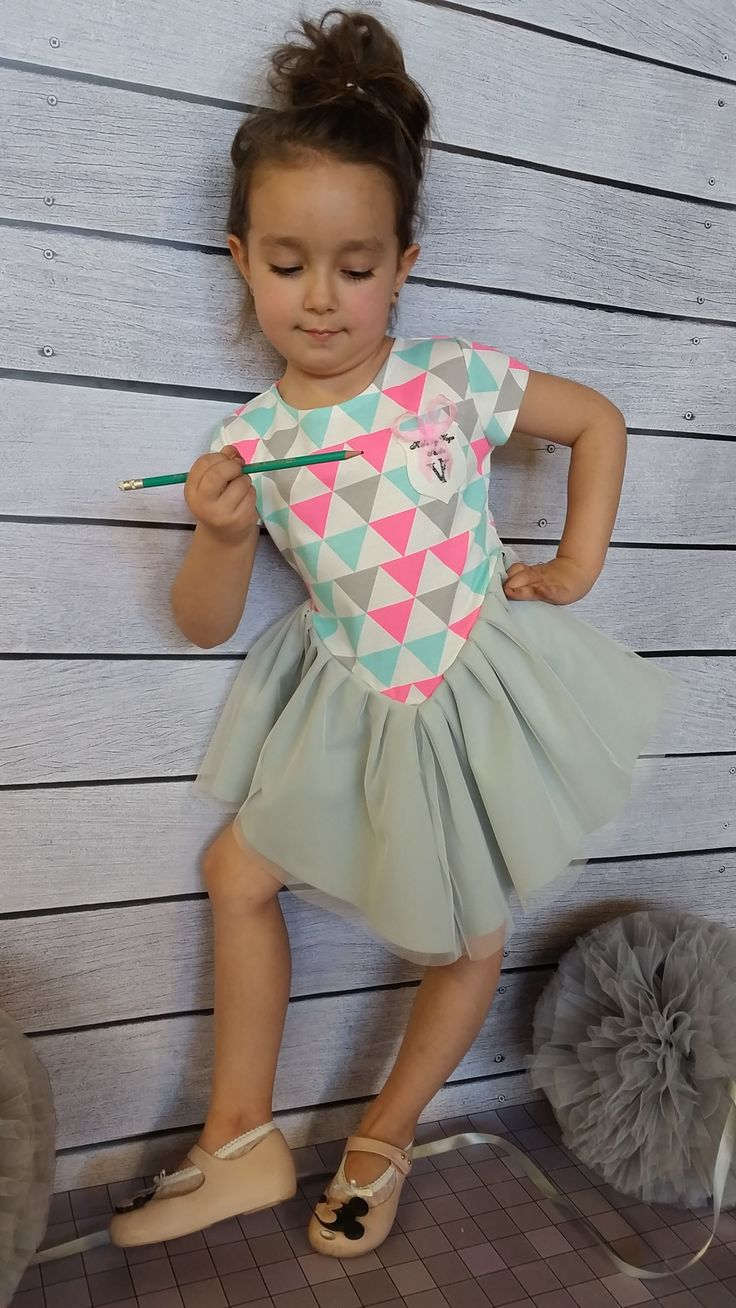 Sukienka pastelowy trójkąt Voga-dziewczynka