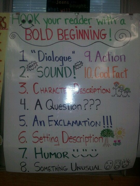 Great anchor chart that shows bold beginnings. It will be good place for students to use when starting their own writing. Also, we can keep track of how author's begin their writing with our read alouds (graphing to incorporate math?)