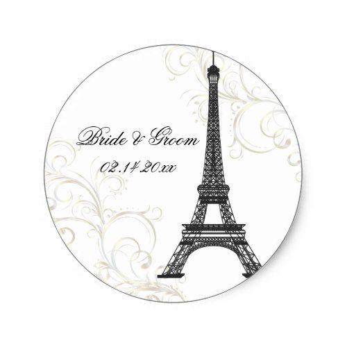 PixDezines La Tour Eiffel+Swirls/DIY color Classic Round Sticker