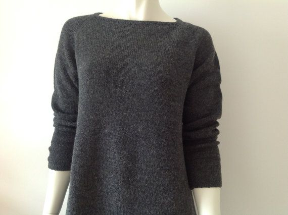 Slate coloured woolen dress with long raglan sleeves by Made4Umnn