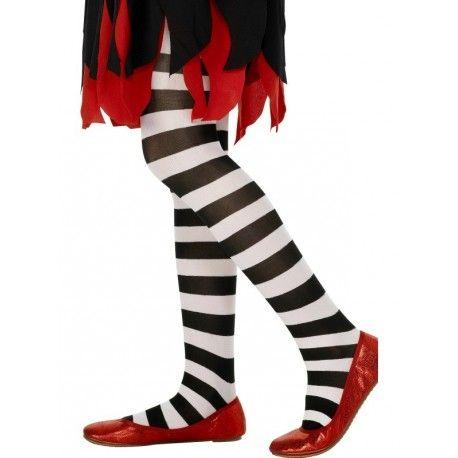 Medias Infantiles Negras y Blancas (niñas, Halloween, brujas, etc.). Childs black and white stripped tights (girls, Halloween, witches, etc.).