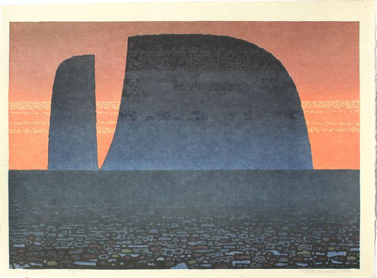 Yoshida, Tôshi  Lost World  Paper size: 54.5 x 40 cm. Number 59 from an edition of 100, self-printed in 1964. Print details in pencil in the bottom margin.  Saru Gallery - Japanese prints & paintings