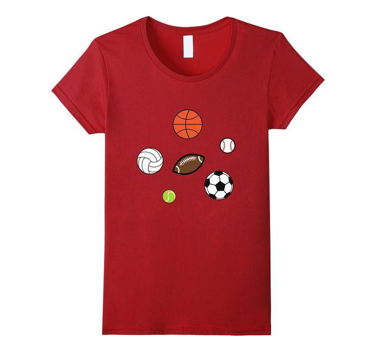 Sports Fan Sport Balls FootbalL Basketball Baseball Women's Tee  by Scar Design. Perfect Gift for All Sport Fans . #sport #tee #sports #tshirt #sportstshirts #baseball #mom #kidssport #dad #basketball #football #tennis #soccer #volleyball #tshirtfashion #kids #tshirtdesign #sportsmom #sportsdad #sporttshirt #art #style #fashion #gifts #giftsforhim #giftsforher #amazon #design #popular #onlineshopping #39;s #blue #family #amazontshirt #kidstshirts #cool #cooltshirts #scardesign