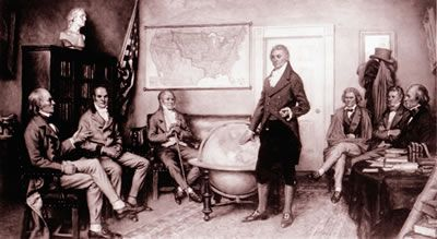 President James Monroe is seen discussing with his advisors the policy later known as the Monroe Doctrine.  From left to right, they are Secretary of State John Quincy Adams, Secretary of the Treasury William H. Crawford, Attorney General William Wirt, President Monroe (standing), Secretary of War John C. Calhoun, Secretary of the Navy Samuel Southard, and Postmaster General John McLean.
