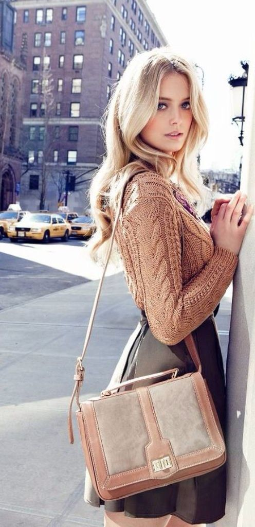 NYC Street Style. Cable knit and leather fall fashion! Recreate this look at www.urbansmooch.com