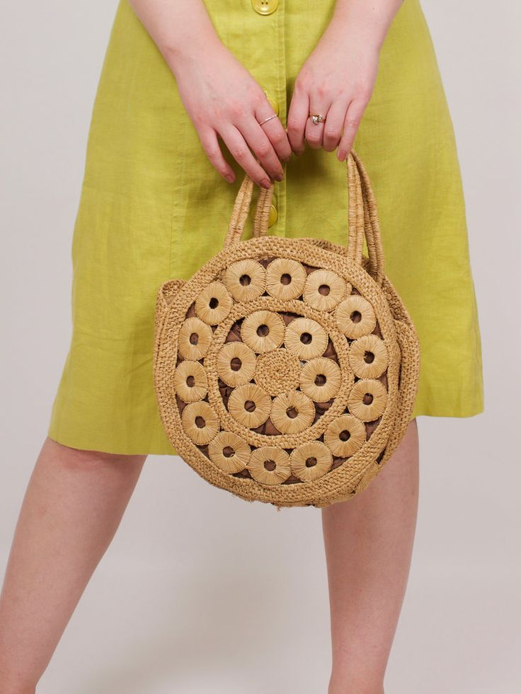 Rare Vintage Seventies Round Woven Handbag