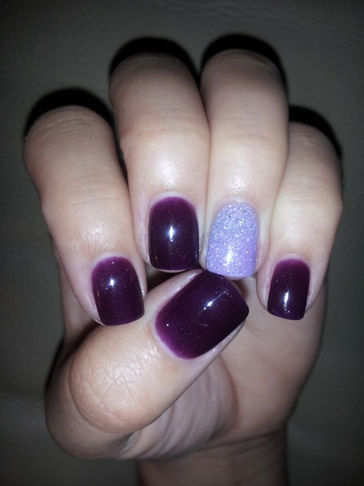 purple nexgen nails w/ a sparkle nails