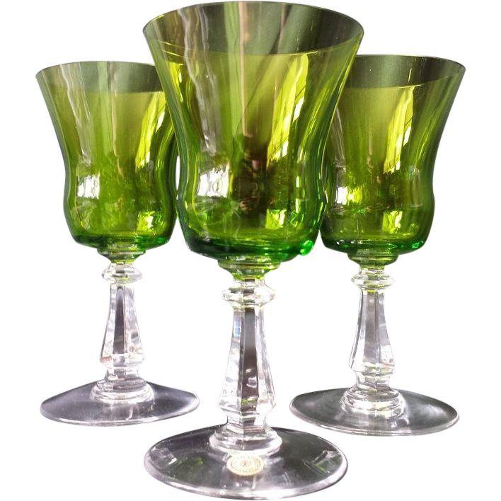 Set of 6 Emerald green crystal Val St. Lambert wine water port sherry glasses