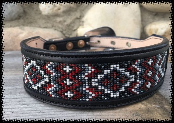Your pup is gonna look SO cute and stylish in this custom-made beaded collar! Gorgeous Reds, whites and black in a pretty pattern that is for sure an eye catcher! Beautiful high-quality matching silver buckle set (buckle, keeper and tip) in a pretty western floral pattern.  1.5 wide with a taper to 3/4 for comfort.  Fits Neck Size 16-19 (see photo for how to measure for a sure fit)  ~ Thick leather that is sturdy yet soft and comfortable for your pet. ~ Fully lined with soft leather…