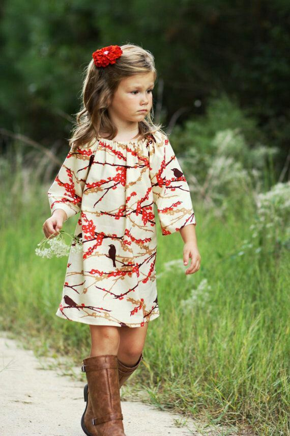 Girl clothes. Jenna would love this,  birds, cool boots and it's a dress