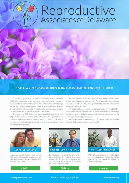 Our newsletter has received a significant update for 2015, but still features the same content you have grown to love. In this issue, the DePaul Family shares their success story, and Dr. Kovalevsky reflects on his time at the Jones Institute, where the first #IVF baby in the U.S. was born. #fertility