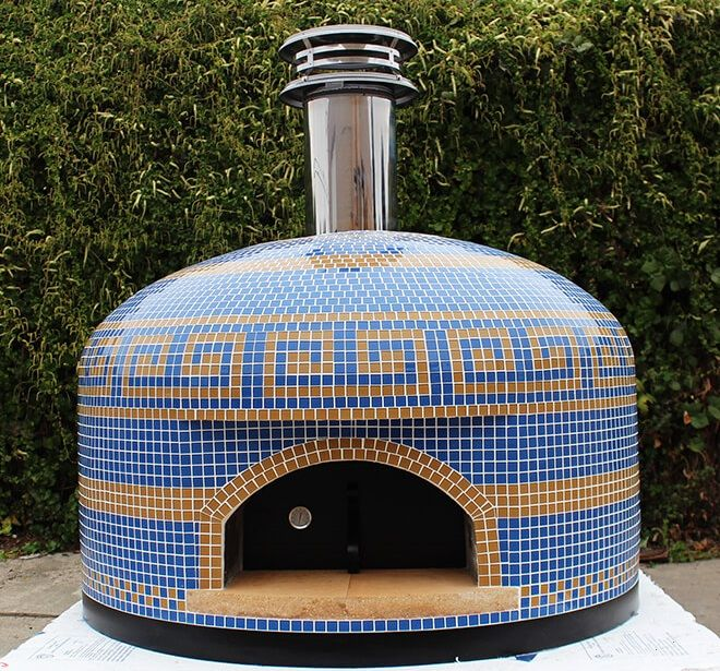 Beautiful Patterned Accents on this Custom Tiled Vesuvio Pizza Oven