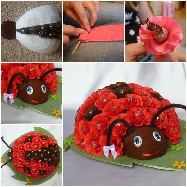 How to Make Chocolate Floral Ladybug Bouquet | www.FabArtDIY.com