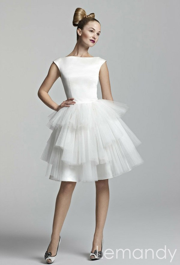 Cute White Satin And Tulle Short Tutu Wedding Dress 17500 Via Etsy