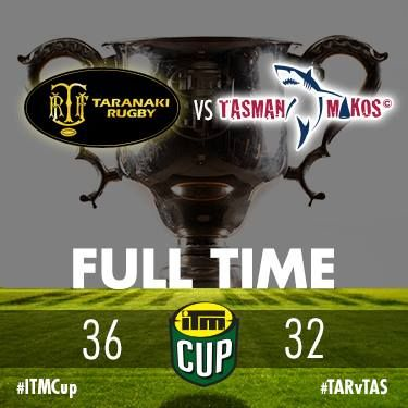 ITM Cup Premiership Final Full Time - Taranaki Rugby 36 Tasman Makos 32. ♥ it. √