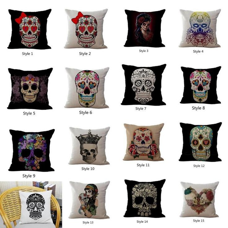 Decorative Floral Skull Head Printed Cushion Cover Cottonu0026Linen Sofa Waist  Square Throw Pillow Case. Outdoor Chaise CushionsReplacement ... Part 98