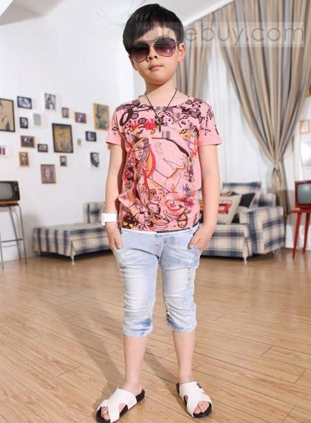 Lovely Boy Pure Cotton Summer Kid's Korea Style T-shirt : Tidebuy.com