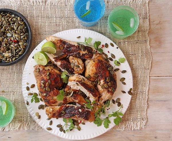 Put flavour into your chicken with lime, paprika, garlic and cumin.  Then sprinkle with coriander and spicy pumpkin seeds!