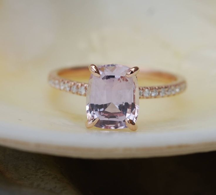 Rose gold engagement ring. Dusty Peach sapphire 2.55ct peach champagne sapphire 14k rose gold diamond ring by Eidelprecious by EidelPrecious on Etsy