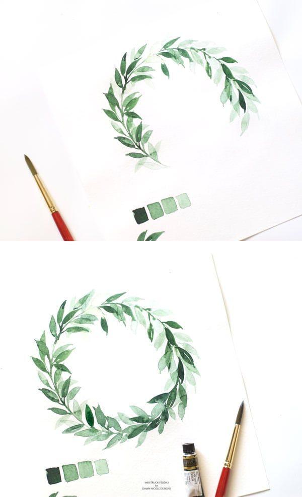 Leafy Watercolor Wreath Tutorial Wreath Watercolor Watercolor