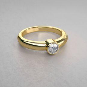 Anillo de Diamante con Bisel Clásico en Oro Amarillo de 14k - México