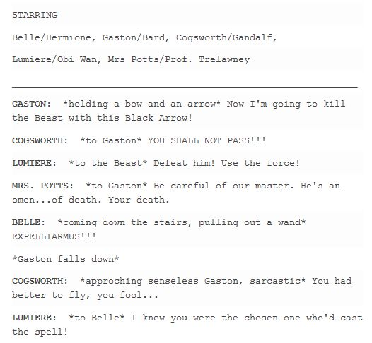Characters Quotes Crossover for Beauty and the Beast live action XD by valeniefantartist on Tumblr http://valeniefantartist.tumblr.com/