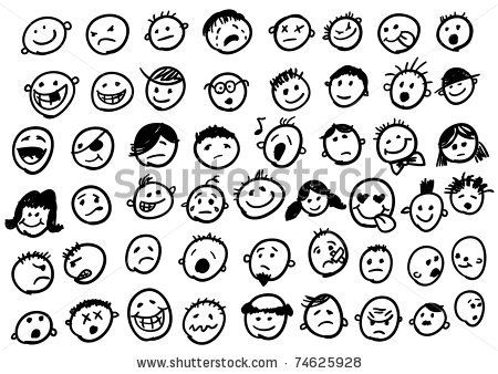Stick Figure Expressions | Doodled funny stick figure faces (jpg version) stock illustrations