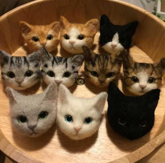 "Lifelike Felt Cat Head Pins by Nel Vicoletto put the ""OWW"" in Meoww."