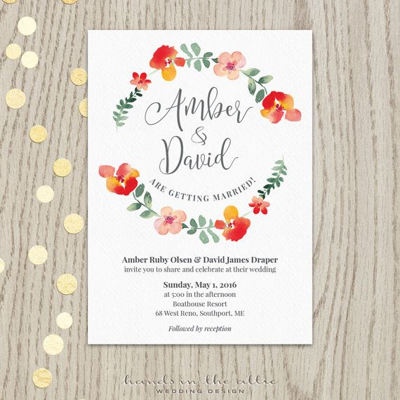 83 best wedding invitations images on pinterest my etsy shop unique wedding printables floral wedding wreath floral wedding invitation template wedding invitations floral customized jpg stopboris Image collections