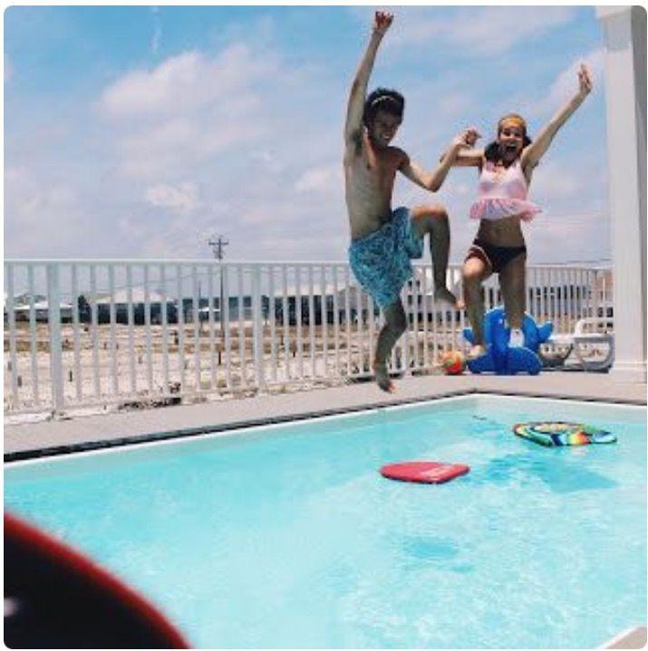 John Luke and Mary Kate enjoying pool time