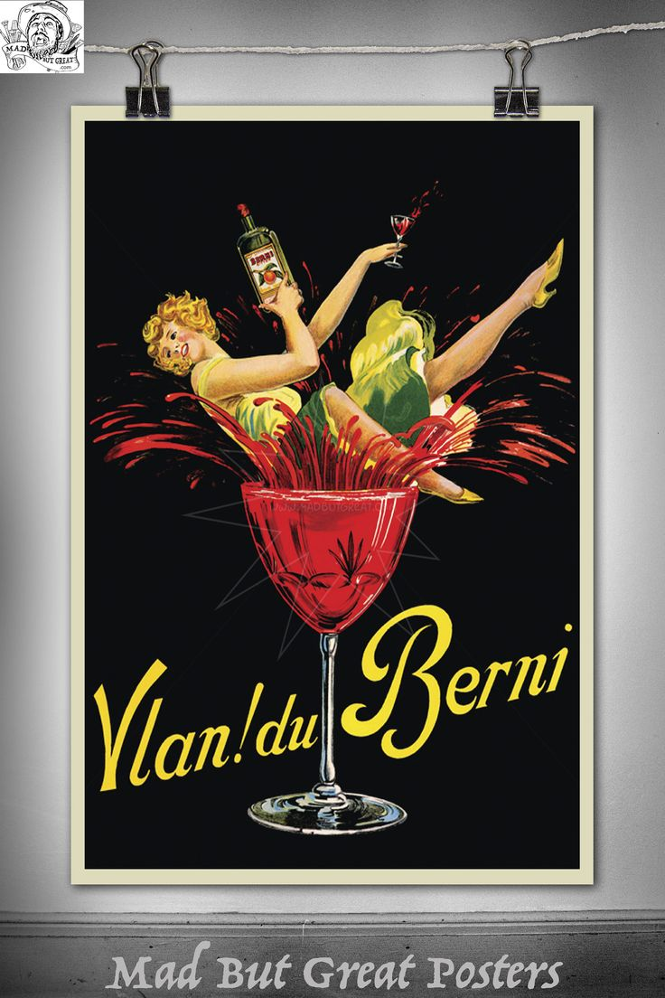 Vlan! du Berni - 1920 - belgium, vintage, poster, gift, food and drink, travel, alcohol, female body, kitchen wall art, office, decor, deco by MadButGreatPosters on Etsy