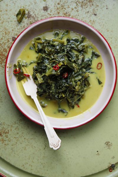 Gulai Sayur (Indonesian-Style Collard Greens Curry) by Saveur. The key step in making this Indonesian dish is to create a base of flavors by gently sweating the paste of chiles, turmeric, ginger, and garlic before stewing the collard greens in coconut milk.