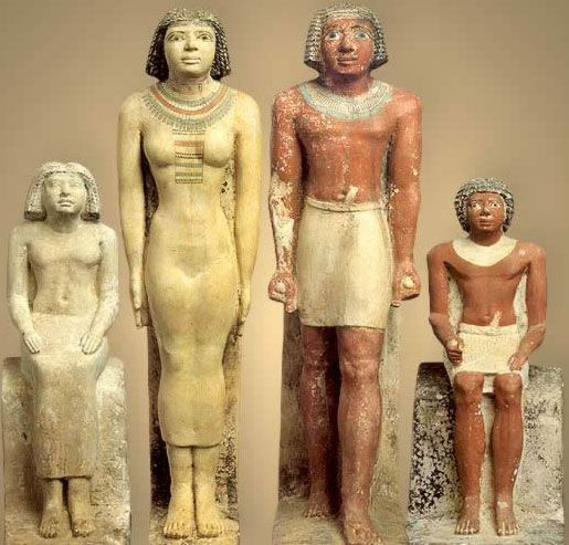 The Family of Neferherenptah. A priest who supervised the funerary cult for Khufu.. Egypt