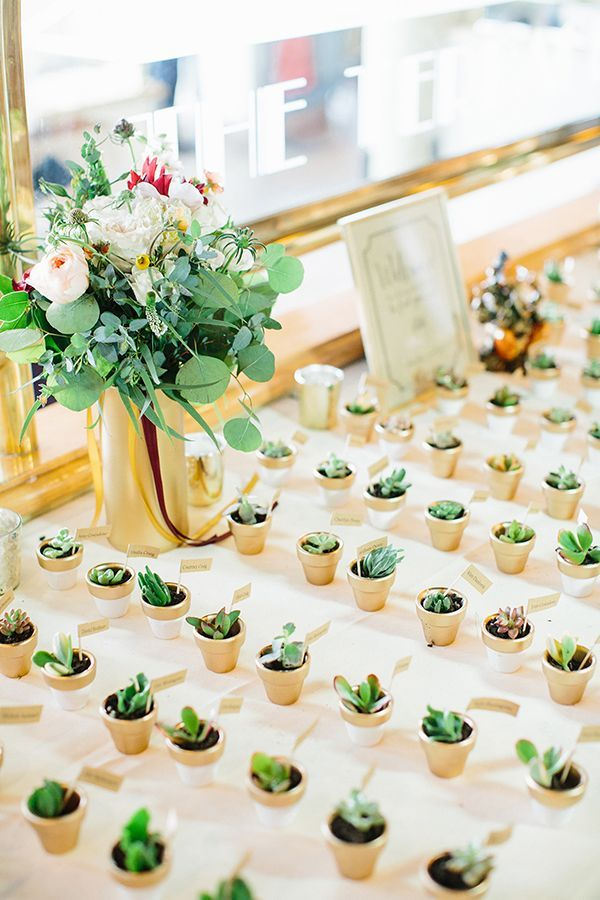 Succulent wedding favors | Photo by Sonya Yruel