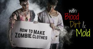 Graphic showing two zombies looking at a sign that reads How to Make Zombie Clothes