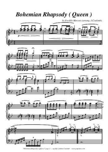 Téléchargez la partition gratuite de Bohemian Rhapsody en PDF
