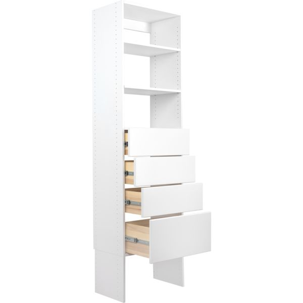 Modular Closets Wood Shelf Tower Closet Organizer System With Solid Wood Dovetail Drawers