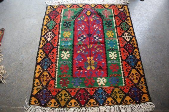 4 X 4.9 FT Stunning Turkish Prayer Rug,Beautiful Anatolian Prayer Rug,Amazing Fine Quality Anatolian