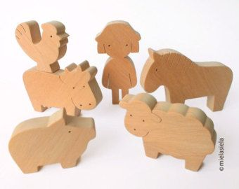 ANY 4 animals Organic wooden toy Animals from all von mielasiela
