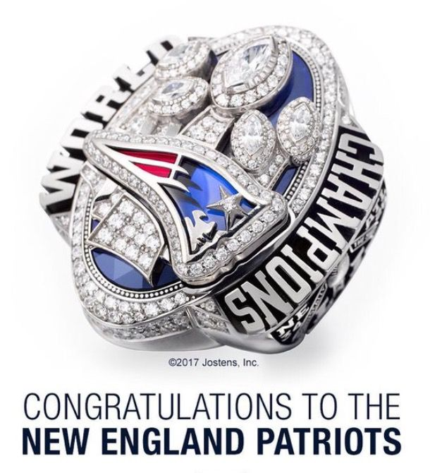 The #Patriots #SuperBowl ring has 283 diamonds, commemorating the score they were down by in #SuperBowl 51. (28-3)