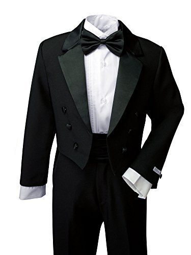 Spring Notion Boys' Black Classic Tuxedo with Tail This traditional boys tuxedo suit is perfect for Weddings, Church, Baptism, and any Special Occasions. Timeless design. It's a complete set consists of tuxedo, shirt, bow tie, cummerbund and pants.Tuxedo: Black single breasted jacket with smooth satin lapel; center vent tail; fully Lined.Pants: Satin stripes line the sides of the pants; flat front with button closure, elastics back. Size 4T and smaller has elastic back