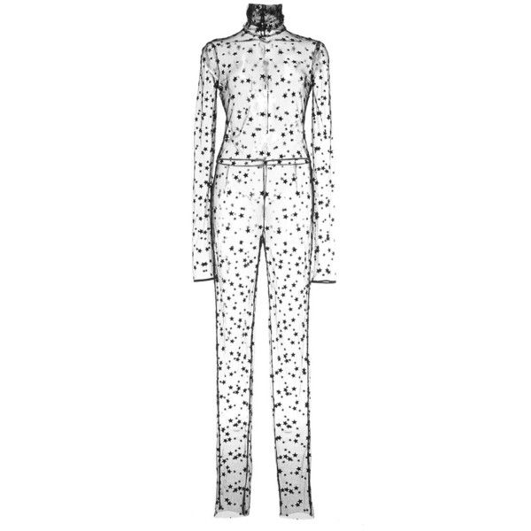 Monique Lhuillier Embroidered Star Tulle Jumpsuit ($2,995) ❤ liked on Polyvore featuring jumpsuits, jumpsuit, noir, white jumpsuit, turtleneck top, sheer turtleneck top, white sheer jumpsuit and white long sleeve jumpsuit