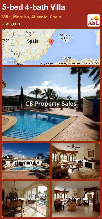 5-bed 4-bath Villa in Villa, Moraira, Alicante, Spain ►€695,000 #PropertyForSaleInSpain