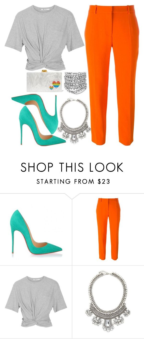 """Flav"" by kimeechanga ❤ liked on Polyvore featuring Christian Louboutin, STELLA McCARTNEY, T By Alexander Wang, Edie Parker, Forever 21 and Yves Saint Laurent"