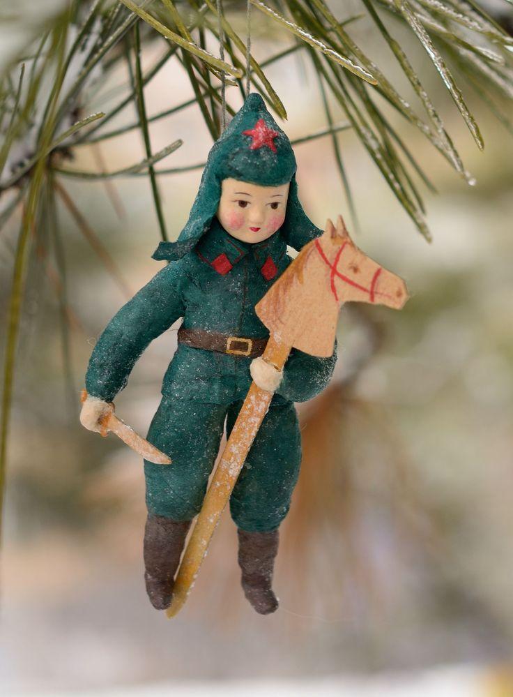 """ватная елочная игрушка """"мальчик с лошадкой"""""""