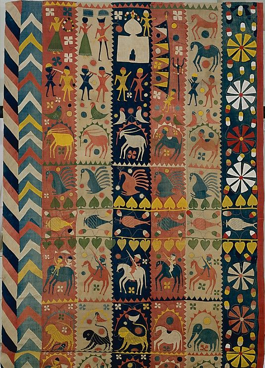 ca. 1900  India, Bahraich, Uttar Pradesh India. Islamic textile is an offering from the tomb of Saint Salar Mas'ud, a nephew of Mahmud of Ghazni who was slain in battle in 1033 or 1034. By 1325, a cult had evolved around his tomb. Cotton; plain weave, appliquéd and embroidered.