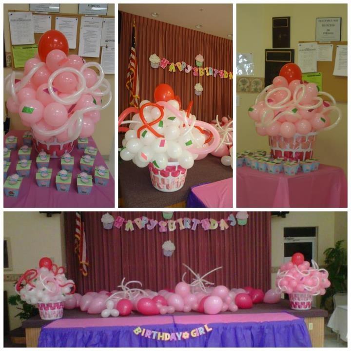 Cupcake 1st birthday balloon decoration balloon for Balloon decoration for 1st birthday