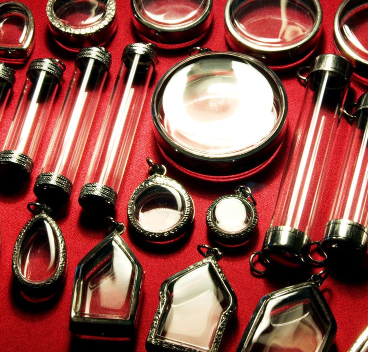 Pendant Supplies, 25 Assorted Cases, Unique Shapes & Sizes, All Silver Tone, Clear Shadow Box Containers, for Jewelry Making and Customizing. $54.00, via Etsy.