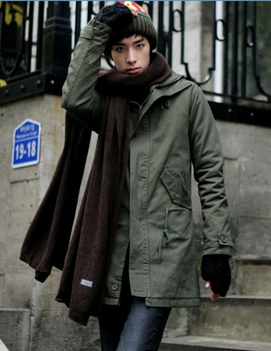 Korean Style Pure Color Hooded Coat Army Green i3366990